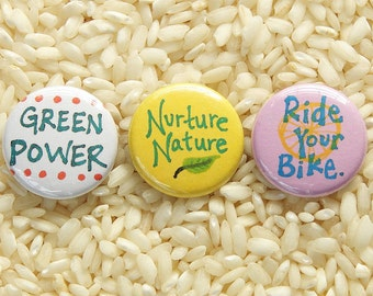 Earth Day Buttons - Set of 3