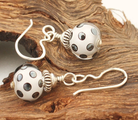 Black and White, Metallic Spotted Lampwork Earrings