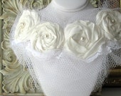 TALULAH Bridal Luxe Ivory Flora Tulle Bib Necklace
