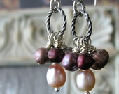 SALE - Juleah Bridal Luxe Ruby Wine And Pink Pearl Earrings