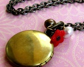 SALE - LULU Parisian Petite Locket With Red Flower And Pearls Boho Chic Charm Necklace