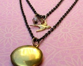 Lark Boho Chic Bird Locket and Antiqued Brass Chain - Two Necklace Set