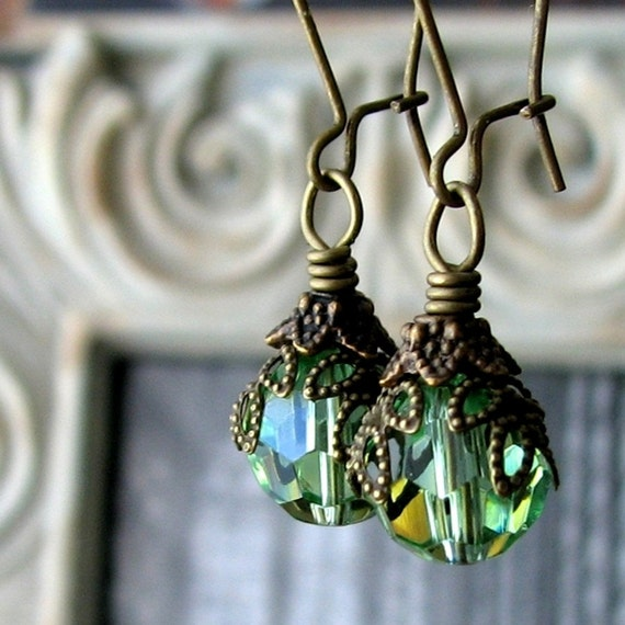 SALE - AURORA Dark Romance Green Glass Boho Antiqued Brass Earrings