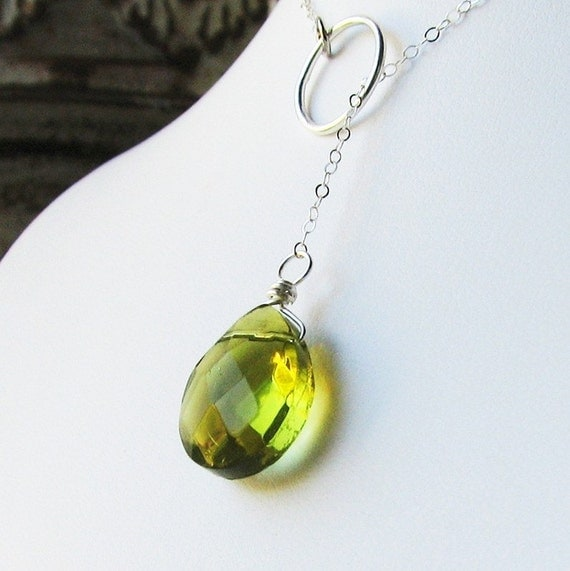 FOREST Sublime Green Quartz Sterling Silver Lariat Necklace