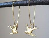 Bird Earrings - Gold BIRD ON A WIRE Loop