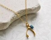 WISHBONE Charm Necklace - Gold