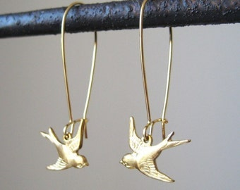 Bird Earrings - Gold BIRD ON A WIRE Loop