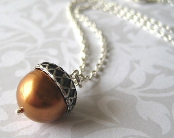 Acorn Necklace - Sterling Silver with Copper Pearl