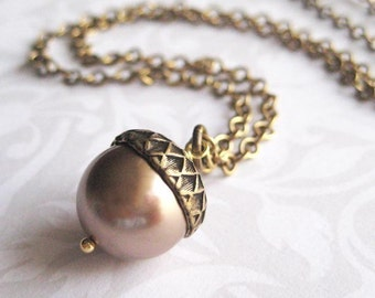 Acorn Necklace - Brass with Brown Pearl