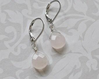 Earrings - Rose Quartz Gemstone Tear Drops