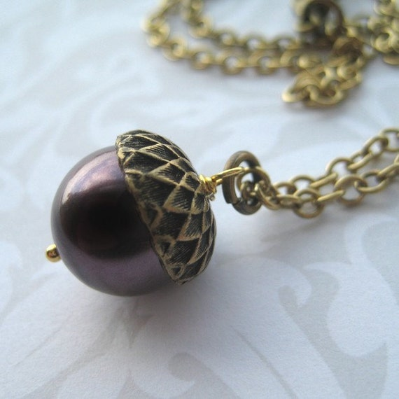 IT FELL FROM A TREE Necklace (Brass with Purple Pearl)