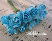 Turquoise Blue Paper Flowers - 36 mini stems - wedding shower bridal new baby invitation favor scrapbooking