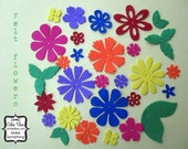 30 Felt Flowers and Leaves - Classic Brights - red, pink, orange, yellow, green, blue, purple