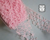 Baby Pink Grunge Burnout Ribbon - 3 yards - 2 inch wide - Altered Couture Art - Costume Design - webbed By the Yard