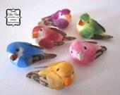 6 mushroom birds - Bubble Gum Pink, Red, Mustard Yellow, Green, Blue, Purple swallow bird