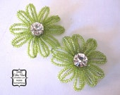 Beaded and Rhinestone Flowers - Set of 2 - Lime Green - Millinery, Altered Couture, Hair Flowers, Pin