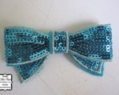 Turquoise Sequin Bow Applique - Millinery, Altered Couture, Hair Flowers, Scrapbooking, Hair Bows, Embellishment