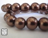 Brown Pearl Beads - 1 Strand of Pearls - 10mm - Glass - pastel