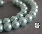 Aqua - Pearl Beads - 1 Strand of Pearls - 10mm - Glass - Pastel Blue Green
