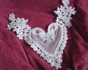 Heart Lace - Lace Collar BIB for Altered Couture Art APPLIQUE