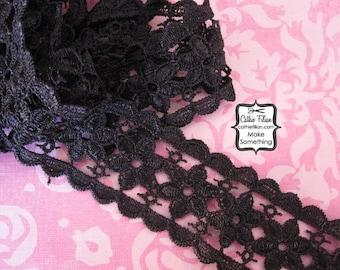Black Lace Trim - 2 yards - gothic flowers vintage vampire