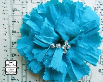 Turquoise Blue - Tattered Fabric and Rhinestone - Silk Flower, Millinery, Altered Couture, Hair Flowers,