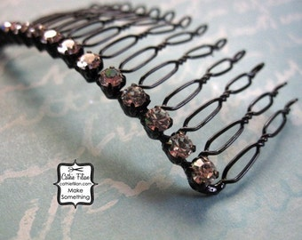 black and rhinestone hair comb for making fascinators - millinery
