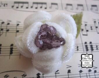 Wedding White - Beaded Velvet Flower - Silk, Millinery, Altered Couture, Hair Flowers, Pin