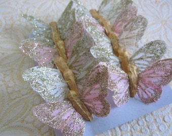 baby butterflies - 1 dozen glittered feather butterfly - pink and ivory
