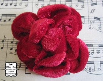 Ruby Red - Velvet Flower - Silk, Millinery, Altered Couture, Hair Flowers, Pin