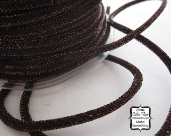 3 yards - Bronze Brown Metallic WIRED cording - Tinsel - Halloween Thanksgiving