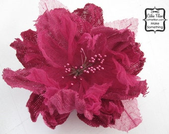 1 Large - Linen and Gauze Flower- Raspberry Pink - Silk, Millinery, Altered Couture, Hair Flowers, Pin