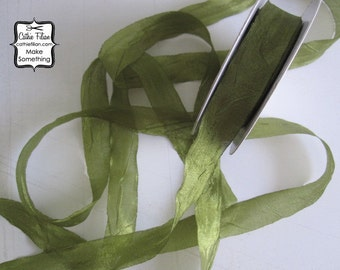5 yards - DISTRESSED crepe ribbon - 5 yards - Olive - crinkle aged Altered Couture - Faux Seam Binding