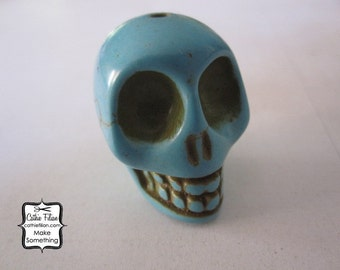 Jumbo Turquoise Skull Bead - Halloween - Day of the Dead - carved stone