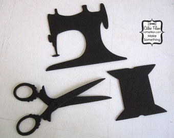 Vintage Sewing Machine, Antique Scissors, Wood Spool Paper Embellishment - Black Chipboard - set of 3