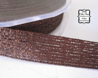 "Textured Metallic Ribbon - Chocolate Brown - 3/4"" wide - 5 yards - shimmer sparkle glitter"