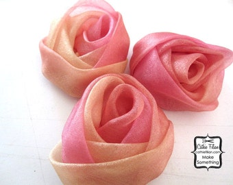 Ombre Pink and Peach Gathered Roses - 3 Fabric Flowers - Millinery, Altered Couture, Hair Flowers