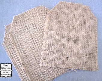 Burlap Tags - set of 3 - 7 inch - altered art - collage - scrapbooking - distressed - banner