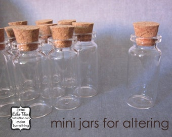 Mini Glass Bottles w/ Cork Tops - 12 pcs -  2 inches tall - jewelry design - altered art - shrine - terrariums - message in a bottle