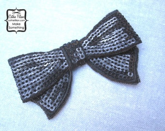 Black Sequin Bow Applique - Millinery, Altered Couture, Hair Flowers, Scrapbooking, Hair Bows, Embellishment