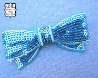Bright Turquoise Sequin Bow Applique - Millinery, Altered Couture, Hair Flowers, Scrapbooking, Hair Bows, Embellishment