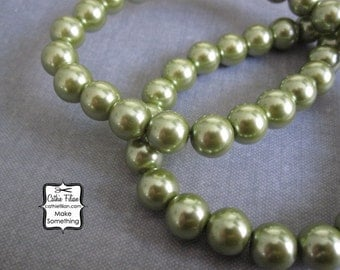 Antique Green Pearl Beads - 1 Strand Pearls - 10mm - Glass