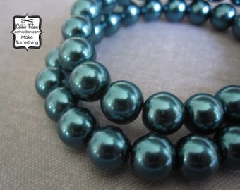 Teal Green Pearl Beads - 1 Strand of Pearls - 10mm - Glass - pastel