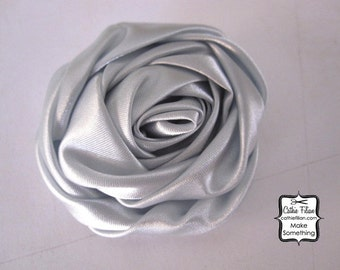 Blue Grey Satin Fabric Flower - Rose - Millinery, Altered Couture, Hair Flowers, Pin