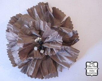 Rhinestone and Silk Flower - Tattered - Olive Taupe - Millinery, Altered Couture, Hair Flowers, Hair Bows