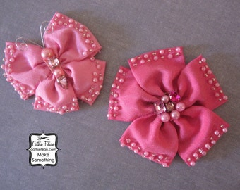 Pink Flower and Butterfly Embellishments - Prima - Millinery, Altered Couture, Hair Flowers, Pins