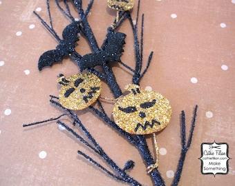 Prima Halloween Glittered Twigs, Bats, Pumpkins - Tricks or Treats Jack Vine Embellishment