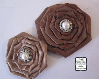 Silk Fabric Flower Rose - Brown and Tan - Rhinestone and Pearl - Millinery,Embellishment, Hair Flowers, Pins