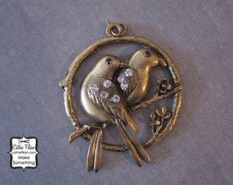 Bird and Branch Pendant - Embellishment - Charm - Mixed Media - Altered Art - Antique Brass and Enamel