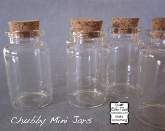 Chubby Glass Bottles w/ Cork Tops - 5 pcs -  2.25 inches tall - jewelry design - mini shrine - terrariums - message in a bottle - wedding